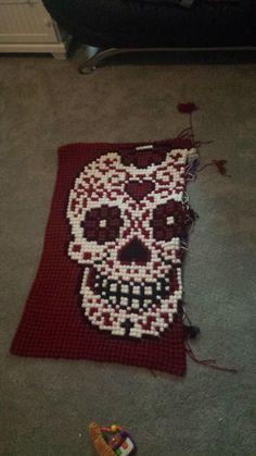 Bobble stitch sugar skull graphgan