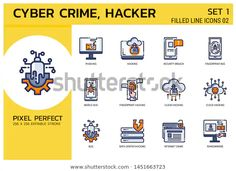 Filled Line Icons Style. Hacker Cyber crime attack By Chaliya Outline Illustration, Line Icon, Cyber, Crime, Symbols, Icons, Design, Style, Swag
