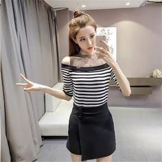 Net Yarn Splicing T-Shirts Female Summer Slash Neck Strapless Half Sleeve Perspective Mesh Small Fresh Wild Fashion Tops