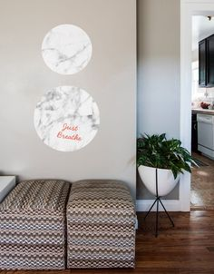 """We love textures of all kinds. So we developed a line of functional, textural wall graphics for ourDry Erase Collection, but beautiful enough to stand on their own. Each texture is available in two shapes, circle and octagon, and each shape comes in three sizes (12"""", 18"""" and 23"""") giving you lots of options. Combine multiple quantities, shapes and textures, and even pair withThe Not Whiteboardto create a design that looks great.So go ahead, jot a note, write a poem, or sketch a…"""