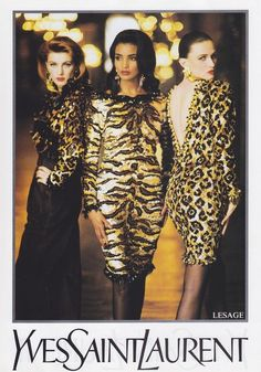YSL, late Models : Ludmila Isaeva Malahova & Unknowns Yves and Leopard, a pair made in Heaven ! Yves Saint Laurent Paris, 80s And 90s Fashion, High Fashion, Original Supermodels, Animal Print Fashion, Animal Prints, Evolution Of Fashion, Lesage, Inspiration Mode
