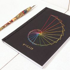 Golden Ratio. Geometry Embroidered A5 Notebook. Fibonacci's Geometric Journal. Maths Men's Black Notebook. Sciences Art Book. Rainbow Colors