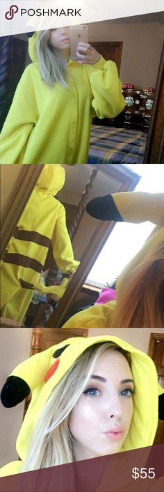 """⚡️PIKACHU KIGURUMI ONESIE ⚡️ Look ultra Lawson for your next festival r convention! THIS IS NOT SAZAC, but it looks just like one. It is not made of that weird shiny material, it is matte just like a real SAZAC. It is fleece. For reference, I am 5'1"""". The tag says Nintendo.  OFFERS ARE WELCOME!!! SAZAC Intimates & Sleepwear Pajamas"""