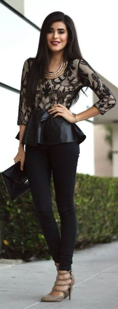 #Lace #Peplum by SpazMag => Click to see what she wears