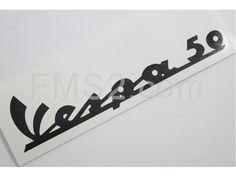 Targhetta Vespa 50  pvc adesiva nera per scud (CIF), ricambio 3379