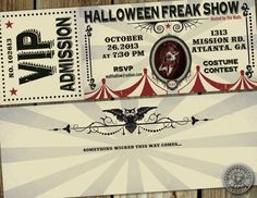 Halloween Freakshow Party Ticket Invitation inspired by Carnivale on Etsy, $31.50 but as postcards