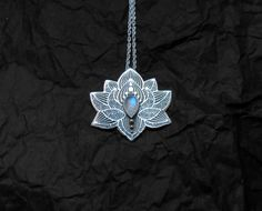 Lotus Yoga Pendant in sterling Silver, Moonstone Chakra Necklace Lotus Necklace, Chakra Necklace, Moonstone Necklace, Flower Necklace, Silver Necklaces, Silver Jewelry, Silver Ring, Silver Earrings, Boho Jewelry