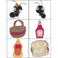 """""""Picnic Applique"""" This picnic comes with all the fixin's, from a yummy looking sandwich, to cheese! And what picnic would be complete without...yes...you guessed it, even the ants are included in this fun, #machineapplique set!"""