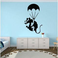 """Style and Apply Banksy Paratrooper Rat Wall Decal Color: Pastel Orange, Size: 49"""" H x 31"""" W"""