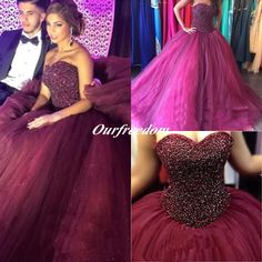 Burgundy Pufly Ball Gown Quinceanera Dresses 2016 Sweetheart Heavy Rhinestone Crystal Long Arabic Formal Prom Party Gown Custom Made New Online with $144.46/Piece on Ourfreedom's Store | DHgate.com