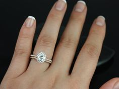 Rachel Rose Gold Thin Oval FB Moissanite and Diamonds Halo Wedding Set