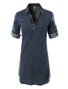 Classic Chambray Jean Denim Shirt Dress with Pockets...think I might need this. CB good, i prefer your image.