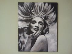 Black and white acrylic painting on canvas. Original. (Part of my film noir series) Marlene Deitrich