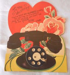 Vintage Large Greeting CardValentine's Day Dial Telephone USA Mechanical