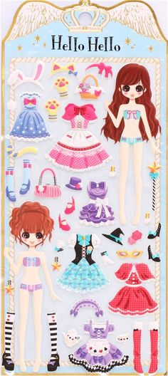 Japanese Kamio dress up doll 3D stickers party costumes 2
