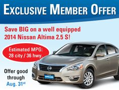 This month, we've got GREAT pricing on the 2014 #Nissan #Altima 2.5S! Great looks, fuel economy and convenience/safety features to be had http://goo.gl/IPlkTv