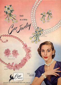 Coro (Jewelry) 1951 Necklaces, Earrings--the pink set is so cute