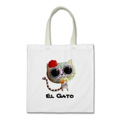 Cat of Day of The Dead Canvas Bag