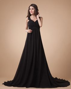 Court-Train-Straps-Girdling-Black-Evening-Dresses-
