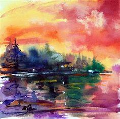 """Sauna by the lake"" - Original Fine Art for Sale - © Mikko Tyllinen"