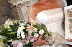 Stargazer lily arm bouquet