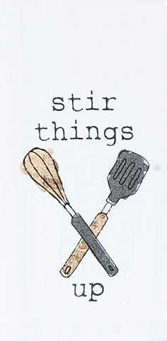 "Stir Things Up - Cooking 100% Cotton Krinkle Flour Sack Dish Towel / Tea Towel, 26"" x 26"""