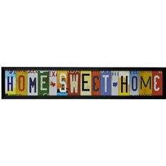 Home Sweet Home License Plate Framed Art Print ($20) ❤ liked on Polyvore featuring home, home decor, wall art, heart shaped plates, glass plates, quote wall art and glass wall plates