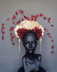 SOLD Gold Fungus & Flower Headdress by MissGDesignsShop on Etsy, $280.00