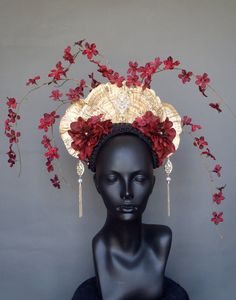 SOLD Gold Fungus & Flower Headdress by MissGDesignsShop on Etsy, $300.00