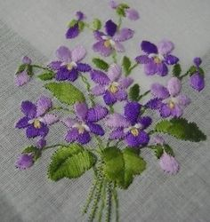 Violets for Faithfulness Embroidered Swiss Handkerchief Hankie Charming