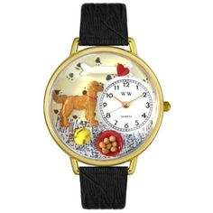 Whimsical Watches Unisex G0130042 Golden Retriever Black Skin Leather Watch $40.99 (32% OFF) + Free Shipping