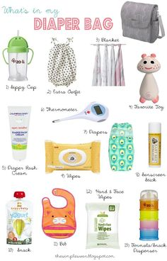 I really need this to simplify what's in my diaper bag. The Simple Swan: What's In My Diaper Bag. Best list I've seen. Maybe a change of shirt for mom and socks for both if you frequently indoor play centers. And bathing suit in summer. Diaper Bag Essentials, Baby Must Haves, Baby On The Way, Everything Baby, Baby Needs, Baby Time, Baby Hacks, Baby Fever, Little Babies