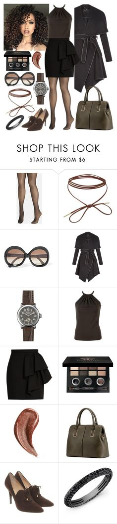 """""""Shades of Fall: Black and Brown"""" by annacastrolima ❤ liked on Polyvore featuring Avenue, ASAP, Balenciaga, BCBGeneration, Shinola, Michael Kors, Yves Saint Laurent, Bobbi Brown Cosmetics, Gucci and MKF Collection"""