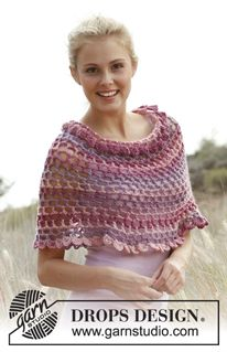 "Mia - Capa para ombros DROPS em ""Big Delight"". Do S ao XXXXL. - Free pattern by DROPS Design"