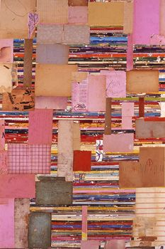 Lance Letscher, Pink Factory, 2006, Collage on Masonite, 65 x 42 inches