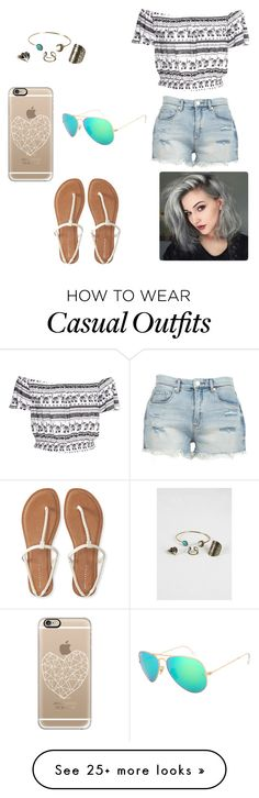 """""""Casual #77"""" by kkmahony on Polyvore featuring Aéropostale, BLANKNYC, Casetify and Ray-Ban"""