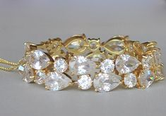 Gold Crystal Teardrop Bracelet Chunky Crystal Gold by JamJewels1