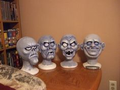 ghost heads  sculpted with crayola model magic. inspired by the Disney 999 ghosts
