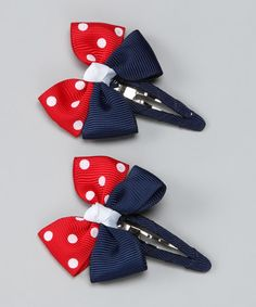 Take a look at this Red & Navy Polka Dot Clip - Set of Two by Monkey Loves Bownanas on #zulily today!