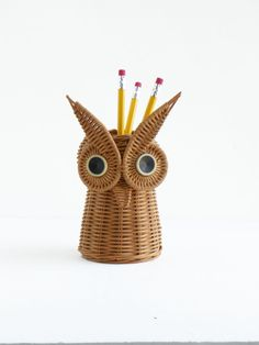 Vintage Wicker Owl Pencil Holder