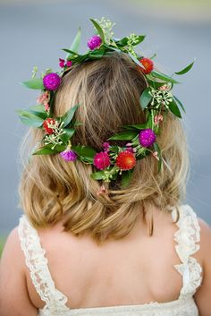 #FlowerGirl #Halo #Wreath |  See this charming wedding on #SMP Weddings:  http://www.stylemepretty.com/2013/12/19/russell-crossroads-wedding/  Photography: Simple Color