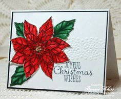 Watercolor Poinsettia for Queen Beverly - Stamping with Klass