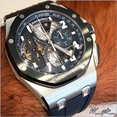 13th of December 2015 #AudemarsPiguet #RoyalOak #Offshore #Tourbillon #Chronograph in #Platinum - On #Black #Rubber #Strap with #Blue Dial #bluedial  The #caliber #2912 movement is #impressive looking and it does an #admirable job of mixing that haute horology feel with contemporary design principles. The #Audemars #Piguet Royal Oak Offshore Tourbillon Chronograph is after all a product of the most modern Royal Oak Offshore design principles. That includes little elements such as the hands…