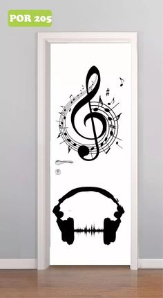 adesivo de porta música notas instrumentos musicais mod 205
