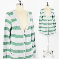 $39 URBAN OUTFITTERS grn STRIPED LONG OVERSIZED BOYFRIEND cardigan sweater top L $24.99