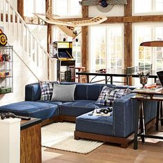 Create a comfy hangout space with Pottery Barn Teen's lounge seating and teen lounge chairs. Shop teen room chairs in many styles, and colors. Lounge Seating, Lounge Sofa, Sectional Sofa, Playroom Seating, Lounge Ideas, Playroom Ideas, Living Room Shelves, Small Living Rooms, Living Room Designs