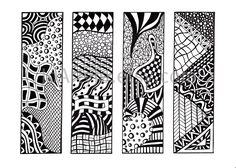 Printable Bookmarks, Zendoodle Bookmarks, Black and White, Zentangle® Inspired This sheet has 4 different zendoodle bookmarks, ready to print. Zentangle Drawings, Zentangle Patterns, Doodles Zentangles, Doodle Patterns, Bookmarks Kids, Printable Bookmarks, Free Printable, Zantangle Art, Zen Doodle