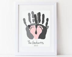 Geschenk für neue Papa, erste Vatertag Geschenk, Baby Fußabdruck & Handabdruck Kunstdruck, personalisierte Family Portrait, 8 x 10 Zoll UNGERAHMT