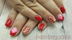 Young nails gel set  Valentine's day nail art Red pink gold glitter with heart nail art Nails by jackie