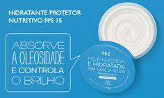 Hidratante protetor Nutritivo FPS 15 absorve a oleosidade e controla o brilho